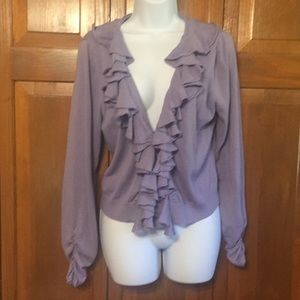 Lavender ruffled cardigan sweater